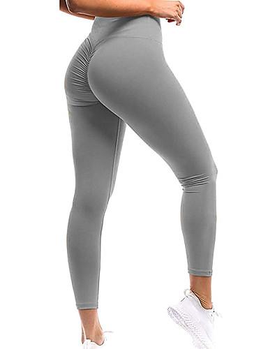 hesapli Egzersiz, Fitness ve Yoga-Kadın's Yüksek Bel Yoga Pantolonları Dantelli Popo Kaldırma Siyah Koyu Gri Menekşe Kayısı Koyu Mor Splandeks Koşma Fitness Spor Salonu Egzersizi Bisiklet Tayt Tozluklar Spor Aktif Giyim İtişli Popo