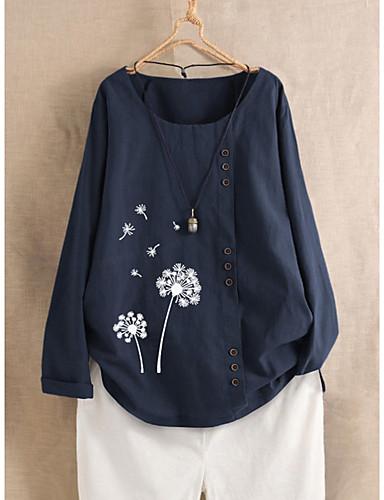 billige Dametopper-Bluse Dame - Blomstret / Grafisk, Trykt mønster Grunnleggende Tropisk blad / Tusenfryd / Solblomst Hvit