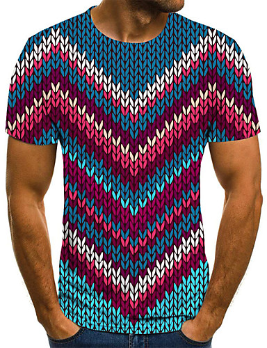 Homens Camiseta 3D / Arco-Íris Azul