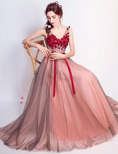 povoljno Quinceanera haljine-A-kroj V izrez Do poda Čipka / Til / Cvjetna čipka Prom / Formalna večer Haljina s Aplikacije po LAN TING Express