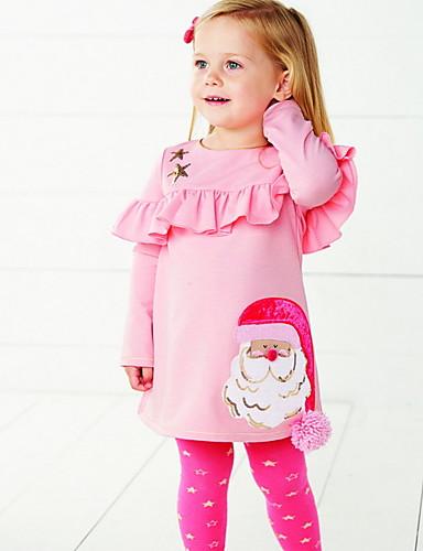 preiswerte Baby & Kinder-Baby Mädchen Street Schick Druck / Weihnachten Langarm Standard Baumwolle Kleidungs Set Rosa