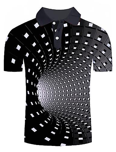 baratos Pré-Liquidação-Homens Tamanhos Grandes Polo Moda de Rua / Exagerado Estampado, Estampa Colorida / 3D / Gráfico Colarinho de Camisa Branco / Manga Curta