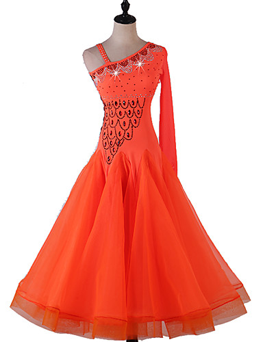 levne Shall We®-Standardní tance Šaty Dámské Výkon Spandex Křišťály / Bižuterie Dlouhý rukáv Šaty