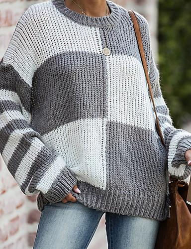 billige Dametopper-Dame Ruter Langermet Pullover Genserjumper Blå / Grå / Kakifarget S / M / L