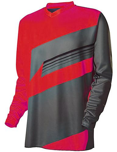 povoljno Odjeća za vožnju biciklom-Muškarci Dugih rukava Biciklistička majica Downhill Jersey Dirt Bike Jersey Jacinth + Gray purpurna boja Bijela Geometic Bicikl Biciklistička majica Odjeća za motocikle Majice Brdski biciklizam