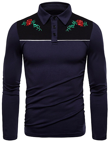 preiswerte Herren T-Shirts & Tank Tops-Herrn Blumen - Grundlegend T-shirt Schwarz