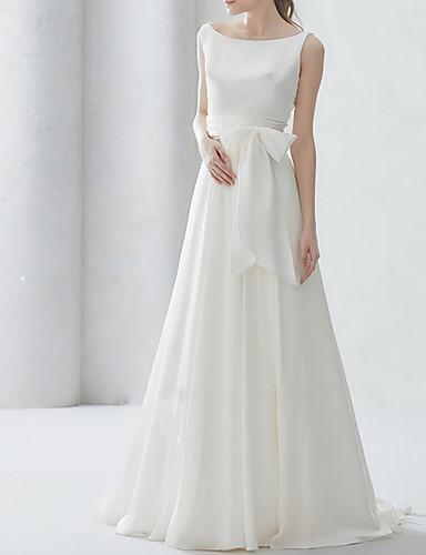 cheap Wedding Dresses-A-Line Bateau Neck Sweep / Brush Train Chiffon Regular Straps Simple Elegant Wedding Dresses with Bow(s) 2020