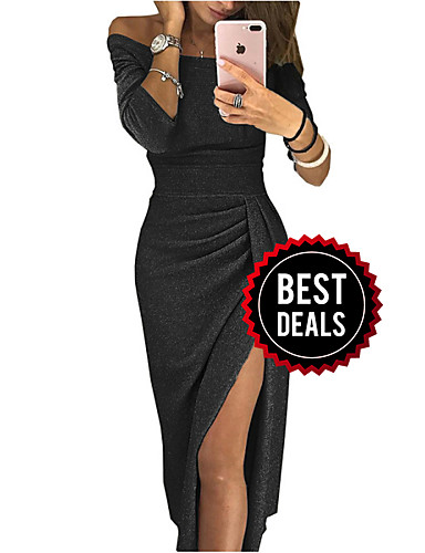 preiswerte Damenkleider in Übergröße-Damen Grundlegend Hülle Kleid Solide Midi Schulterfrei