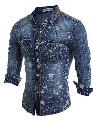 levne Pánské košile-Pánské - Geometrický / Barevné bloky Klub Šik ven / Elegantní Větší velikosti Košile, Tisk Světle modrá / Dlouhý rukáv