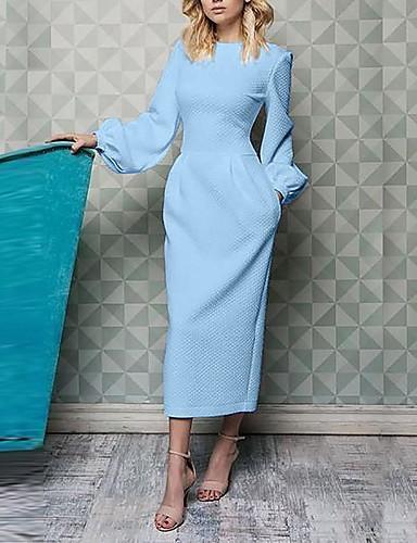 levne Pracovní šaty-Dámské Základní Pouzdro Šaty - Jednobarevné, Patchwork Maxi Černá Bílá Modrá