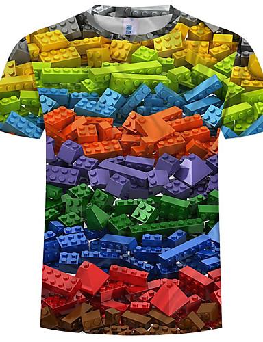 levne Pánské módní oblečení-Pánské - Barevné bloky / 3D / Grafika Šik ven / Přehnaný Tričko, Tisk Duhová