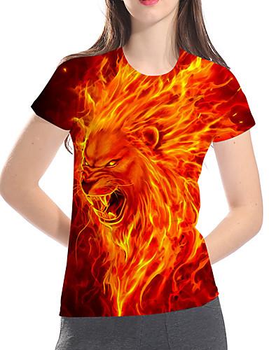 billige Dametopper-T-skjorte Dame - 3D / Dyr / Tegneserie, Trykt mønster Grunnleggende / overdrevet Løve Rød