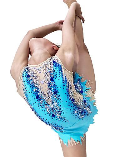 ราคาถูก ออกกำลังกาย ฟิตเนส และโยคะ-Rhythmic Gymnastics Leotards Artistic Gymnastics Leotards สำหรับผู้หญิง เด็กผู้หญิง Leotard น้ำเงินท้องฟ้า สแปนเด็กซ์ ความยืดหยุ่นสูง ทำด้วยมือ ที่ประดับด้วยเพชรพลอย ดูเหมือนเพชร เสื้อไม่มีแขน