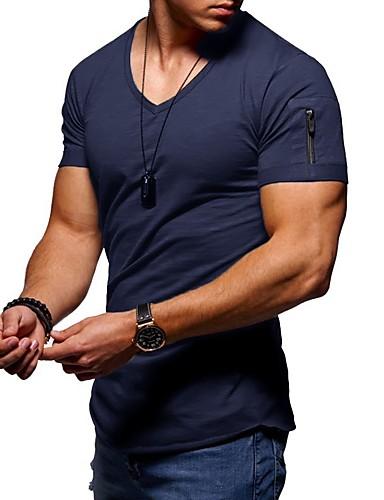 cheap Men's New Ins-Men's T-shirt Graphic Solid Colored Tops V Neck Wine White Black / Short Sleeve / Summer