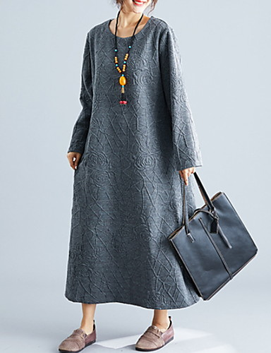 levne Maxi šaty-Dámské Tričko Šaty - Jednobarevné Maxi
