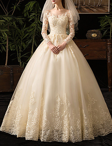 cheap Wedding Dresses-A-Line Scoop Neck Floor Length Lace Long Sleeve Glamorous See-Through / Illusion Sleeve Wedding Dresses with 2020