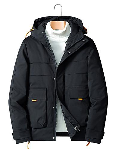 levne Pánské kabáty a parky-Pánské Jednobarevné Standardní Dlouhý kabát, POLY Černá / Béžová / Šedá US32 / UK32 / EU40 / US34 / UK34 / EU42 / US36 / UK36 / EU44