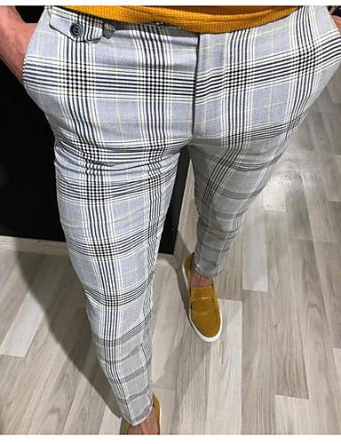 cheap Men's Pants & Shorts-Men's Basic Suits Pants - Striped Yellow Red Gray US36 / UK36 / EU44 US38 / UK38 / EU46 US40 / UK40 / EU48