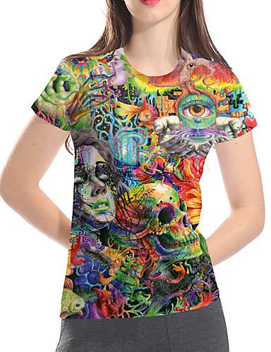 billige Dametopper-T-skjorte Dame - 3D / Tegneserie / Hodeskaller, Trykt mønster Grunnleggende / overdrevet Grønn