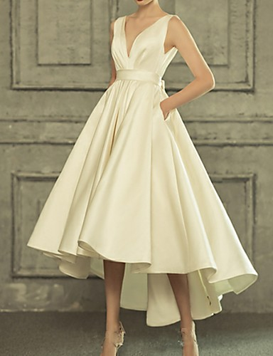 cheap Wedding Dresses-A-Line V Neck Asymmetrical Satin Regular Straps Simple / Casual / Vintage Little White Dress Wedding Dresses with Bow(s) 2020