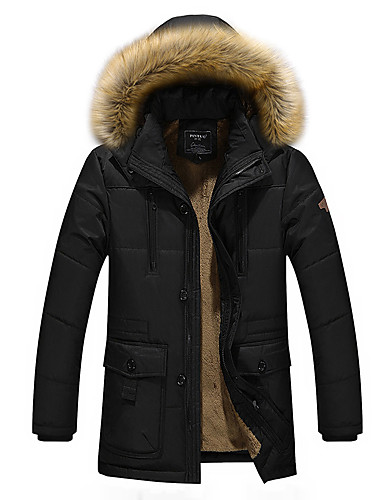cheap Fur Trims-Men's Solid Colored Padded, Polyester Black / Royal Blue / Khaki US32 / UK32 / EU40 / US34 / UK34 / EU42 / US36 / UK36 / EU44