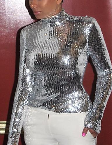 billige T-skjorter til damer-T-skjorte Dame - Ensfarget, Paljetter Grunnleggende Sølv