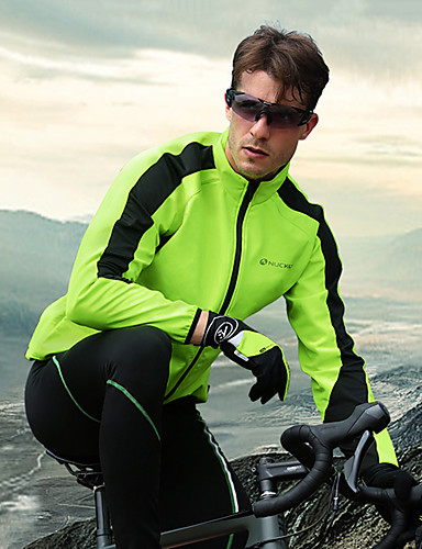 cheap Cycling Jersey & Shorts / Pants Sets-Nuckily Men's Long Sleeve Cycling Jacket with Pants Winter Fleece Silicone Green Red Blue Bike Clothing Suit Thermal / Warm Waterproof Windproof Breathable 3D Pad Sports Solid Color Mountain Bike MTB