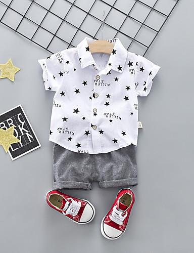 preiswerte Babykleidung Jungen-Baby Jungen Grundlegend Druck Kurzarm Standard Standard Kleidungs Set Weiß