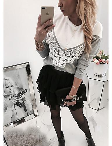 billige Bluser-Bluse Dame - Fargeblokk, Blonde Grunnleggende Blå