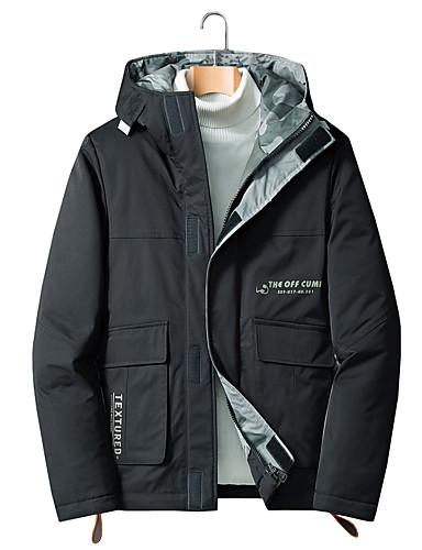 levne Pánské kabáty a parky-Pánské Jednobarevné Standardní Dlouhý kabát, POLY Černá / Šedá US32 / UK32 / EU40 / US34 / UK34 / EU42 / US36 / UK36 / EU44