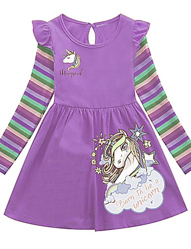 Kids Girls' Cartoon Dress Purple / Cotton