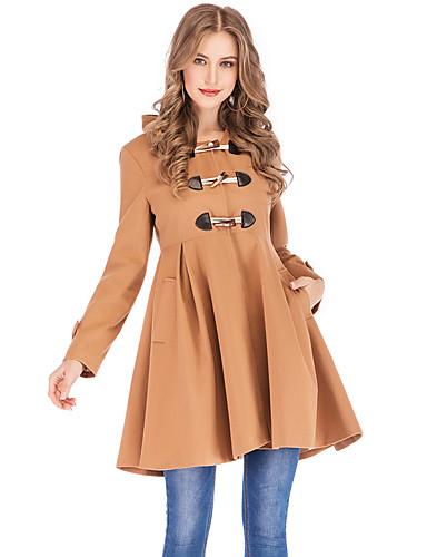 levne Dámské kabáty a trenčkoty-Dámské Párty / Denní Vintage / Sofistikované Podzim zima Standardní Kabát, Jednobarevné Kapuce Dlouhý rukáv Nylon Plisé Velbloudí