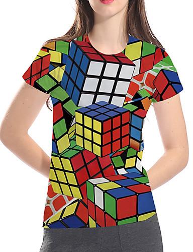billige Dametopper-T-skjorte Dame - Geometrisk / 3D / Grafisk, Trykt mønster Grunnleggende / overdrevet Magiske kuber Regnbue