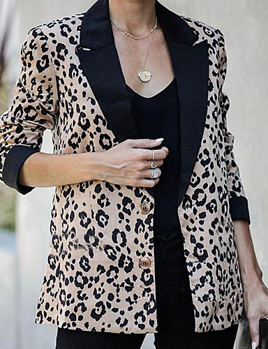 levne Dámské blejzry a bundy-Dámské Denní Standardní Bunda, Leopard Klasické klopy Dlouhý rukáv Nylon Oranžová