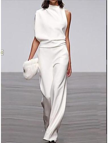 cheap Women's Jumpsuits & Rompers-Women's Black White Fuchsia Jumpsuit, Solid Colored M L XL