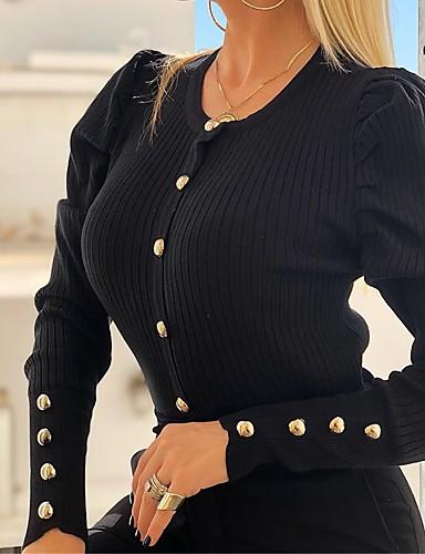 billige Dametopper-T-skjorte Dame - Ensfarget, Nagle / Lapper Forretning / Grunnleggende Svart