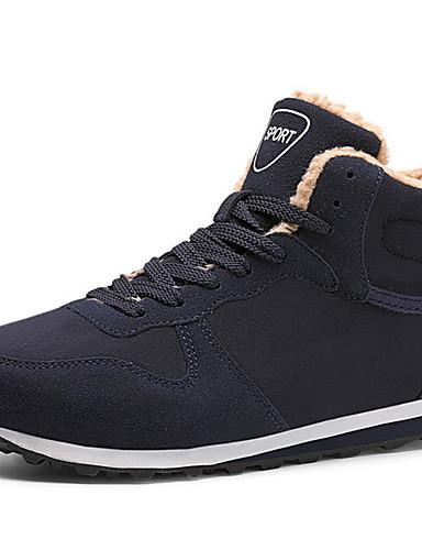 preiswerte Athletische Schuhe für Herren-Herrn Komfort Schuhe Leder Winter Sportschuhe Rennen Schwarz / Blau