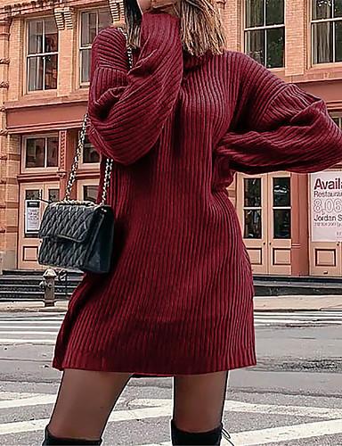 billige Dametopper-Dame Ensfarget Langermet Pullover Genserjumper, Rullekrage Svart / Rød / Grå S / M / L