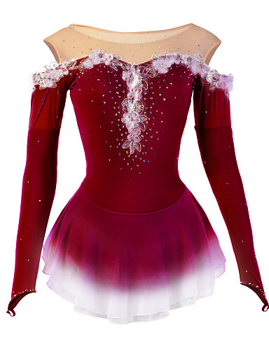 cheap Ice Skating-Figure Skating Dress Women's Girls' Ice Skating Dress Sky Blue Dark Purple Yellow Flower Halo Dyeing Spandex Mesh High Elasticity Competition Skating Wear Breathable Handmade Novelty Dumb Light