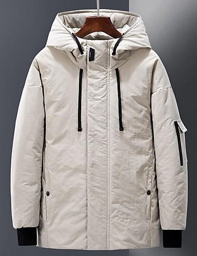 levne Pánské kabáty a parky-Pánské Jednobarevné S vycpávkou, Polyester Černá / Armádní zelená / Béžová US32 / UK32 / EU40 / US34 / UK34 / EU42 / US36 / UK36 / EU44