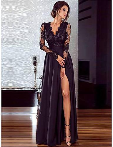 levne Maxi šaty-Dámské 1920s Krajka Flapper Šaty - Jednobarevné Maxi Hluboké V Gatsby