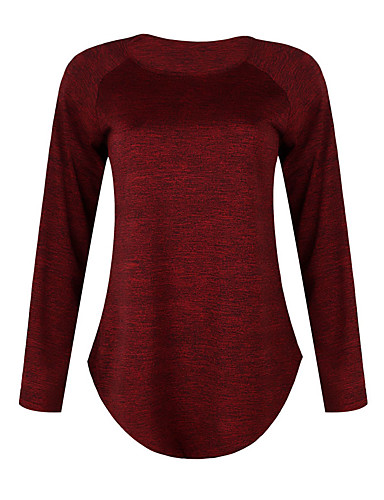 Women's Daily Weekend Street chic T-shirt - Solid Colored Patchwork Wine