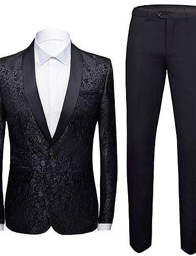 hesapli En Çok Satanlar-Erkek Şal Yaka Suit Geometrik Beyaz / Siyah / Havuz US32 / UK32 / EU40 / US34 / UK34 / EU42 / US36 / UK36 / EU44