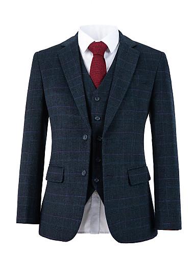 tanie Garnitury męskie na miarę-ciemnoszary kraciasty wełniany tweedowy garnitur