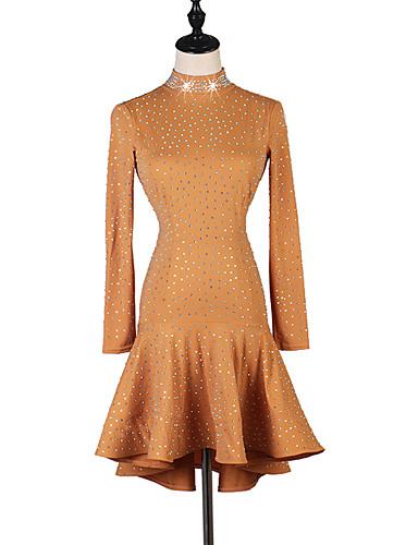 preiswerte Kleidung für Lateinamerikanischen Tanz-Latein-Tanz Kleider Damen Leistung Elasthan Kristalle / Strass Langarm Kleid
