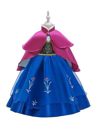 cheap Movie & TV Theme Costumes-Princess Anna Dress Masquerade Flower Girl Dress Girls' Movie Cosplay A-Line Slip Retro Vintage Cosplay Blue / Ink Blue Dress Halloween Carnival Masquerade Tulle Polyester