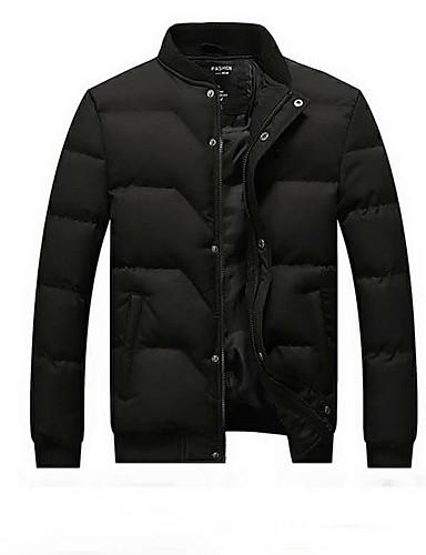 levne Pánské kabáty a parky-Pánské Jednobarevné Větší velikosti S vycpávkou, Polyester Černá / Vodní modrá / Šedá US32 / UK32 / EU40 / US34 / UK34 / EU42
