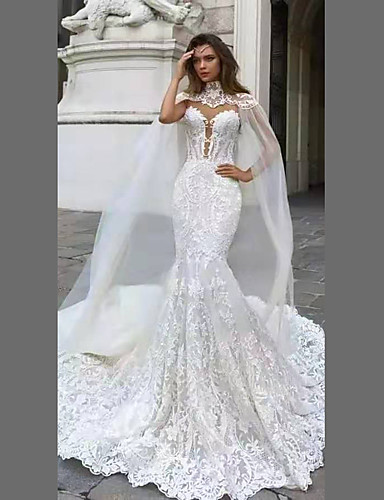 cheap Wedding Dresses-A-Line High Neck Chapel Train Lace Strapless Glamorous See-Through / Illusion Detail / Backless Wedding Dresses with 2020