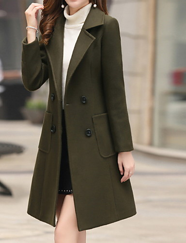 cheap Women's Outerwear-Women's Daily Fall & Winter Long Coat, Solid Colored Notch Lapel Long Sleeve Polyester Army Green / Brown / Khaki