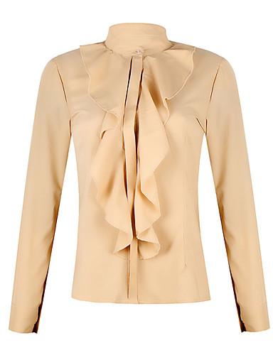 billige Skjorter til damer-Skjorte Dame - Ensfarget, Drapering / Lapper Elegant Svart